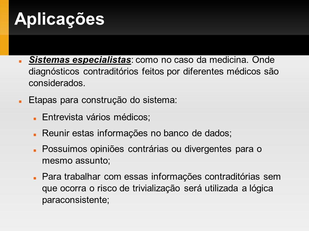 Aplicações Sistemas especialistas: como no caso da medicina. Onde diagnósticos contraditórios feitos por diferentes médicos são considerados.