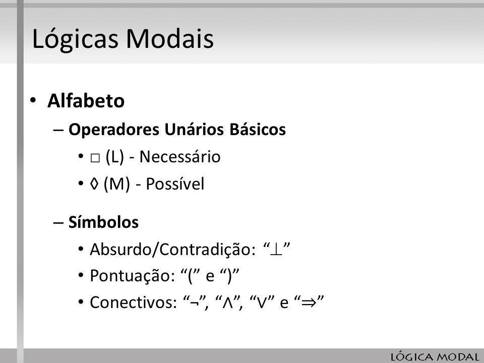 Lógicas Modais Alfabeto Operadores Unários Básicos □ (L) - Necessário
