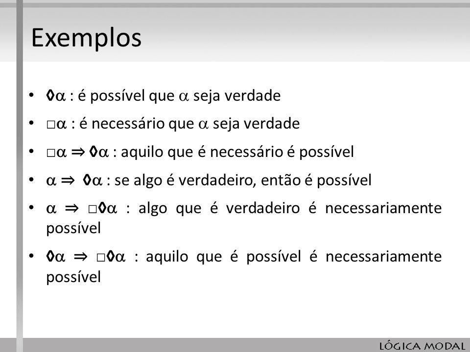 Exemplos ◊ : é possível que  seja verdade