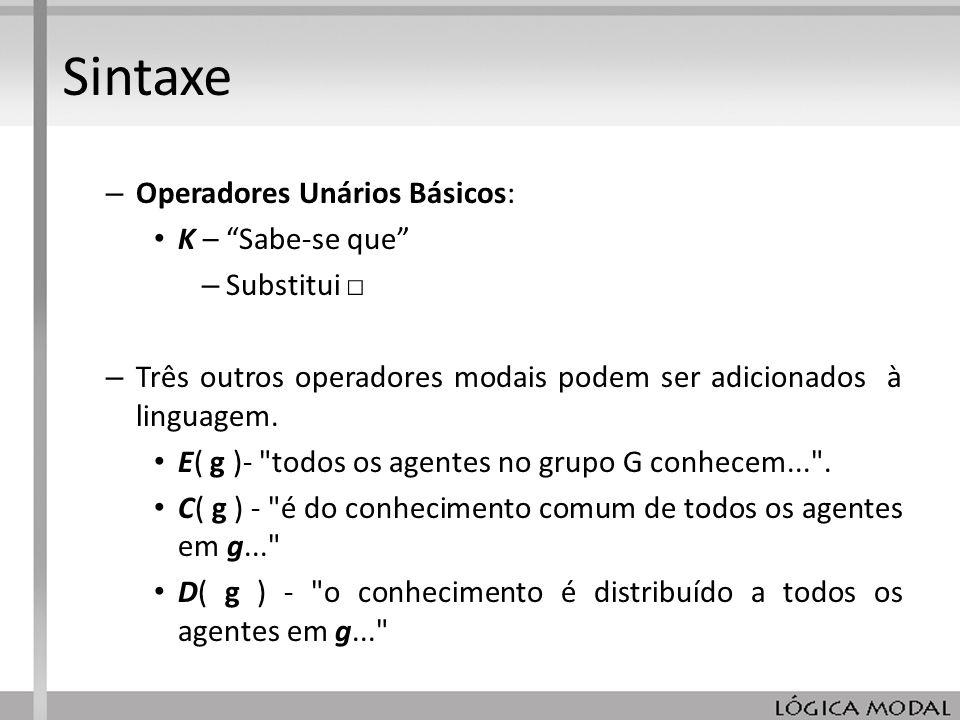Sintaxe Operadores Unários Básicos: K – Sabe-se que Substitui □