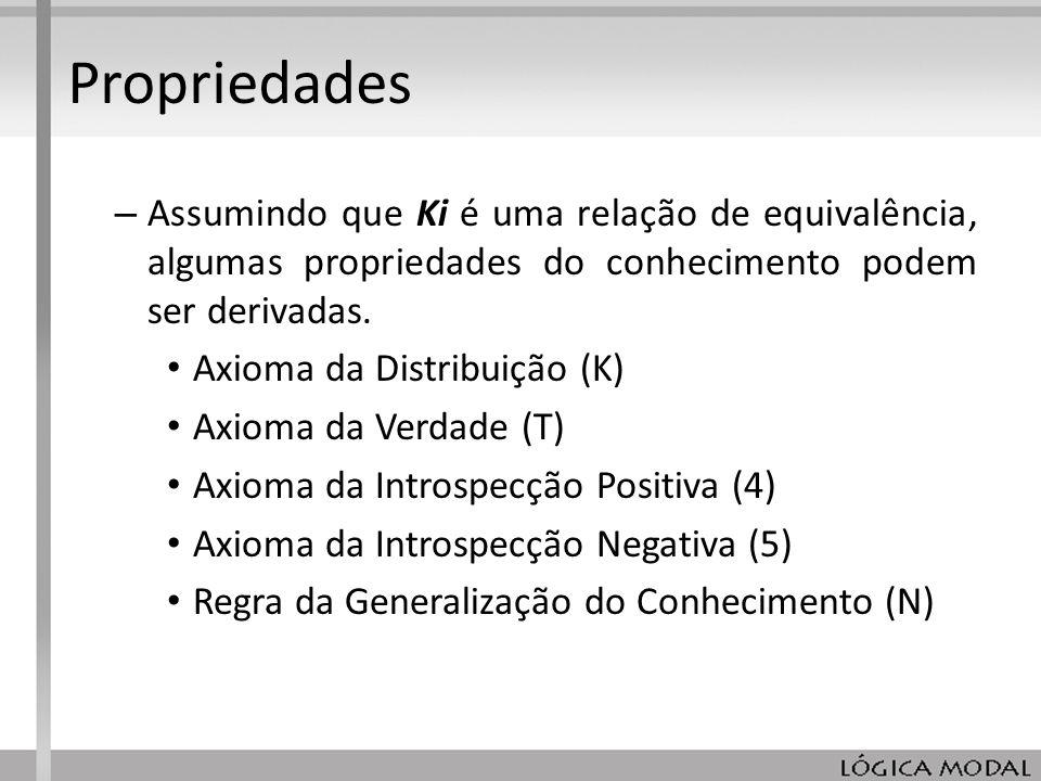 Propriedades Assumindo que Ki é uma relação de equivalência, algumas propriedades do conhecimento podem ser derivadas.