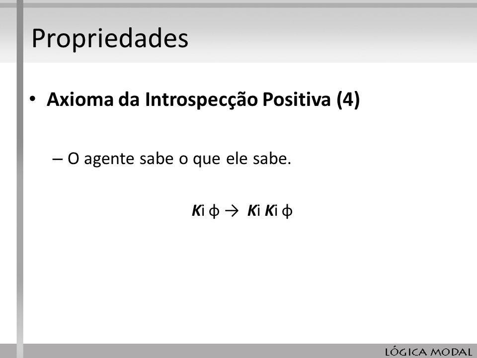 Propriedades Axioma da Introspecção Positiva (4)