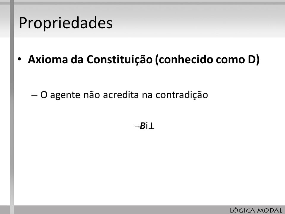 Propriedades Axioma da Constituição (conhecido como D)