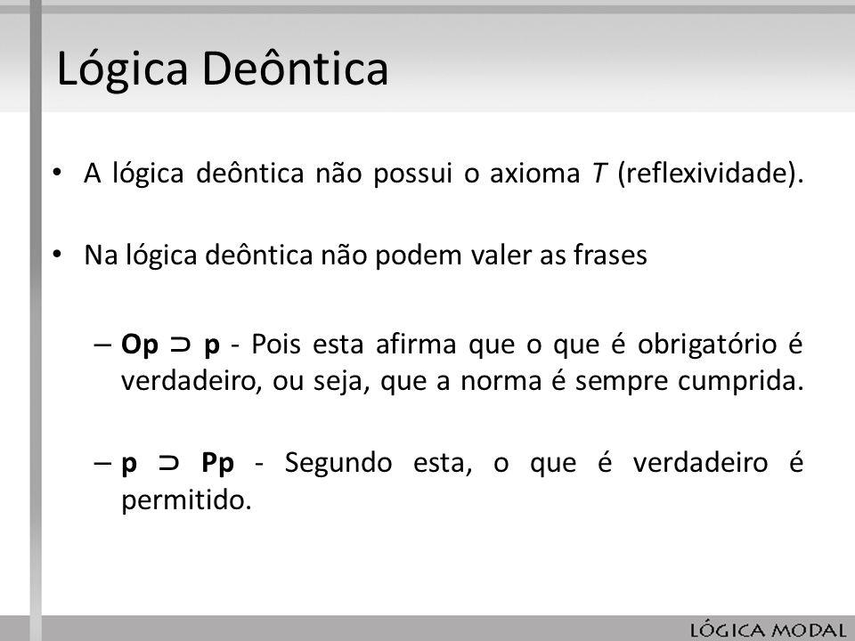 Lógica Deôntica A lógica deôntica não possui o axioma T (reflexividade). Na lógica deôntica não podem valer as frases.