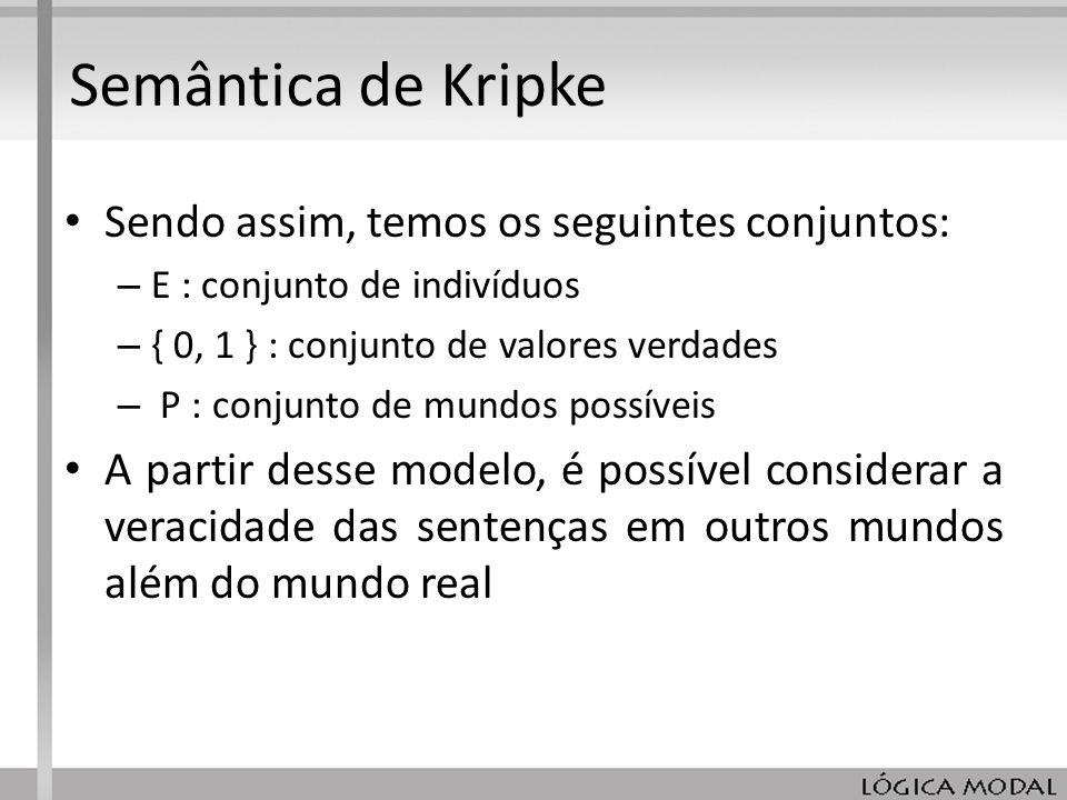 Semântica de Kripke Sendo assim, temos os seguintes conjuntos: