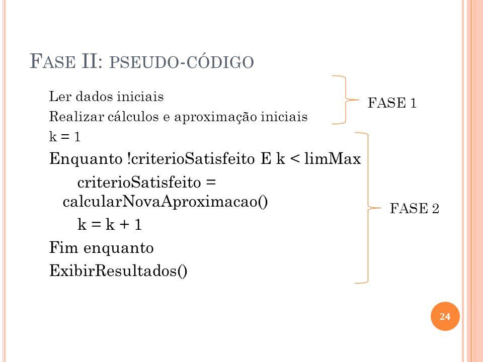 Fase II: pseudo-código