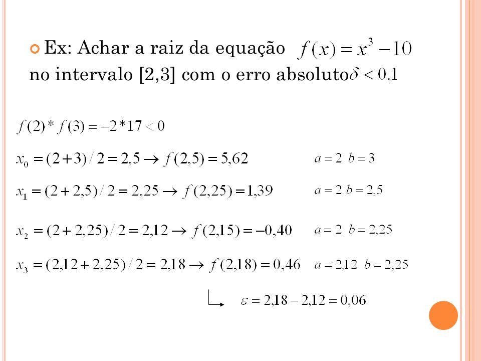 Ex: Achar a raiz da equação