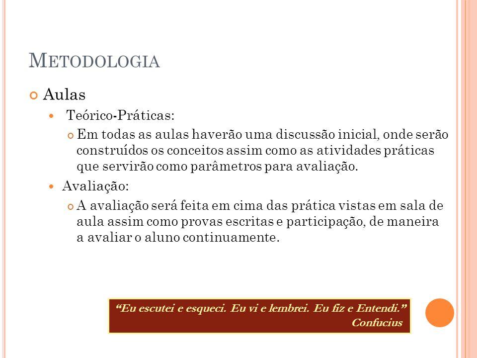 Metodologia Aulas Teórico-Práticas: Avaliação: