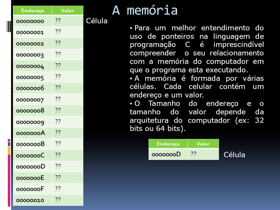 A memória Endereço. Valor. 00000000. 00000001. 00000002. 00000003. 00000004. 00000005. 00000006.