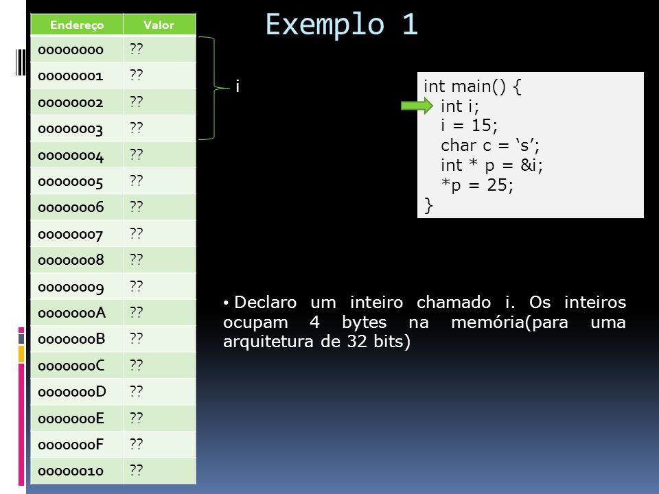Exemplo 1 Endereço. Valor. 00000000. 00000001. 00000002. 00000003. 00000004. 00000005. 00000006.