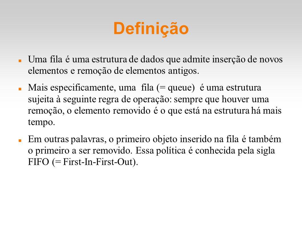 Definição Uma fila é uma estrutura de dados que admite inserção de novos elementos e remoção de elementos antigos.