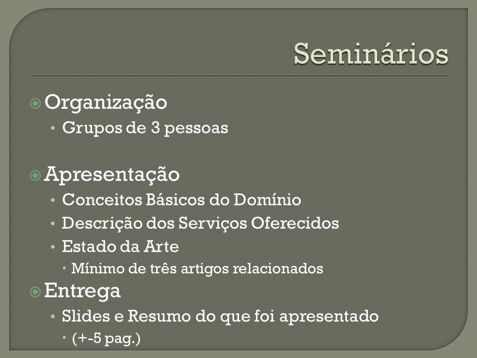 Seminários Organização Apresentação Entrega Grupos de 3 pessoas