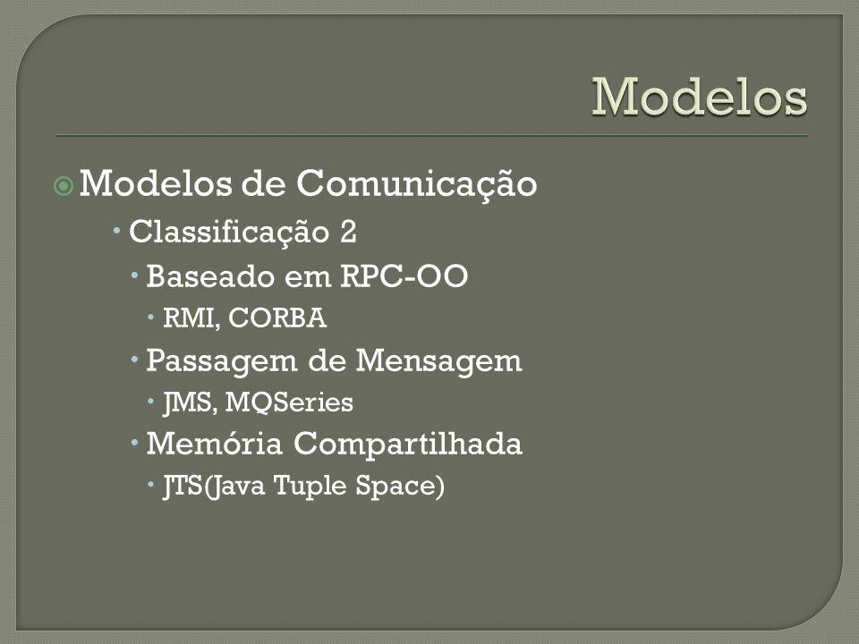Modelos Modelos de Comunicação Classificação 2 Baseado em RPC-OO