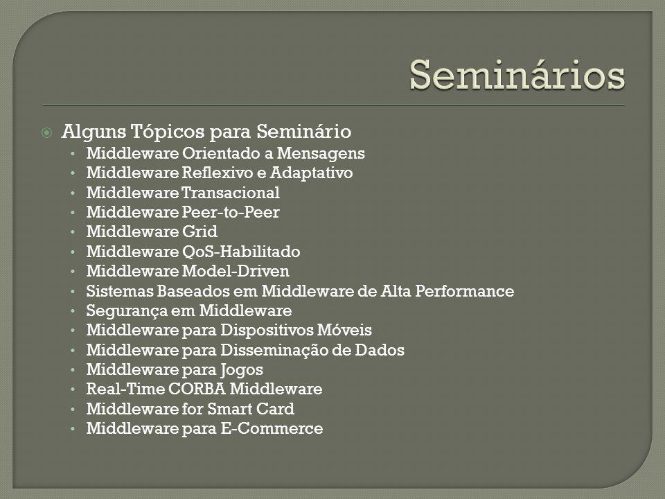 Seminários Alguns Tópicos para Seminário