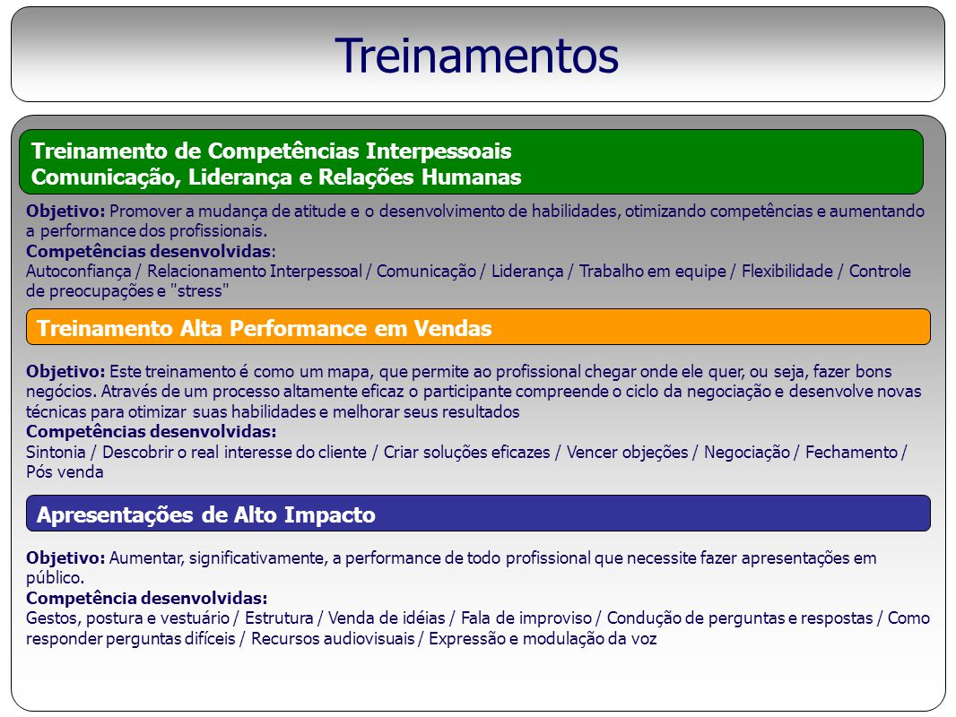 Treinamentos Treinamento de Competências Interpessoais