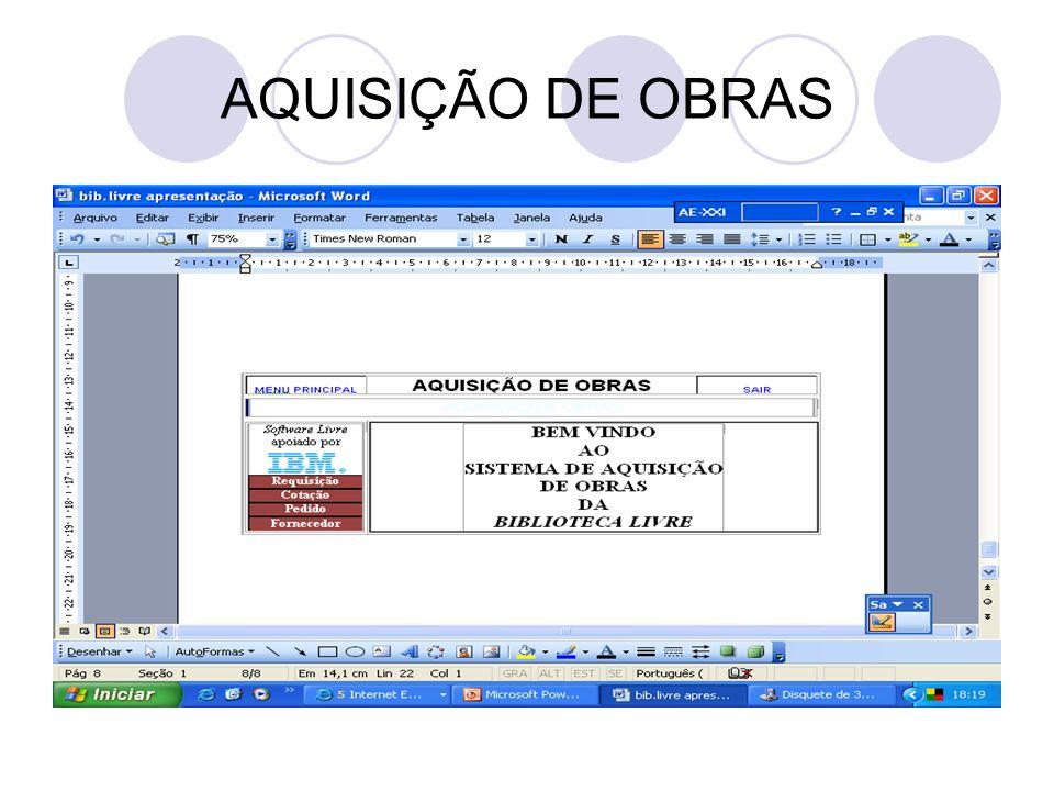 AQUISIÇÃO DE OBRAS