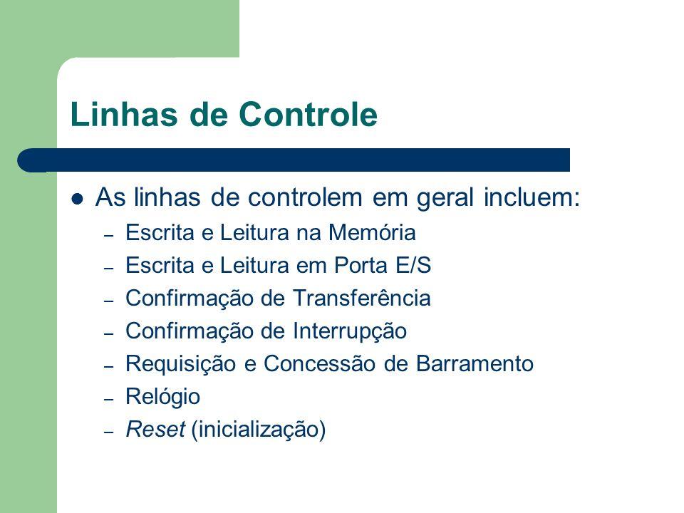 Linhas de Controle As linhas de controlem em geral incluem: