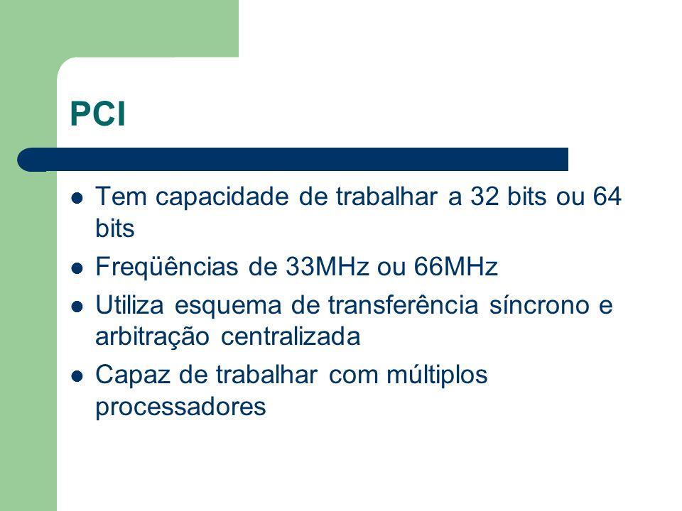 PCI Tem capacidade de trabalhar a 32 bits ou 64 bits