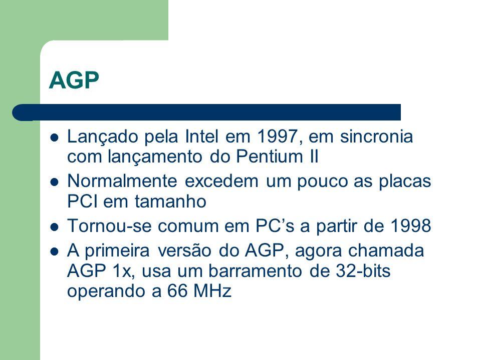 AGP Lançado pela Intel em 1997, em sincronia com lançamento do Pentium II. Normalmente excedem um pouco as placas PCI em tamanho.