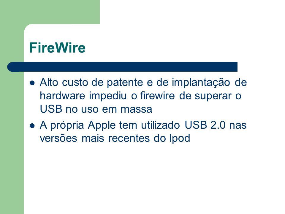 FireWire Alto custo de patente e de implantação de hardware impediu o firewire de superar o USB no uso em massa.