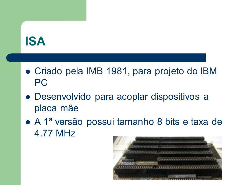 ISA Criado pela IMB 1981, para projeto do IBM PC