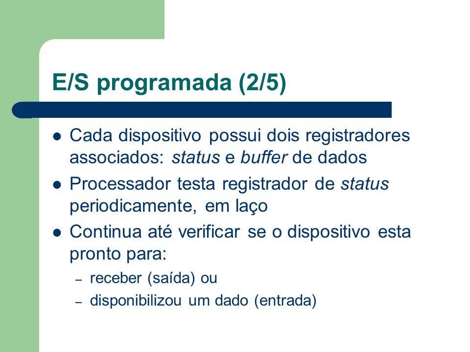 E/S programada (2/5) Cada dispositivo possui dois registradores associados: status e buffer de dados.
