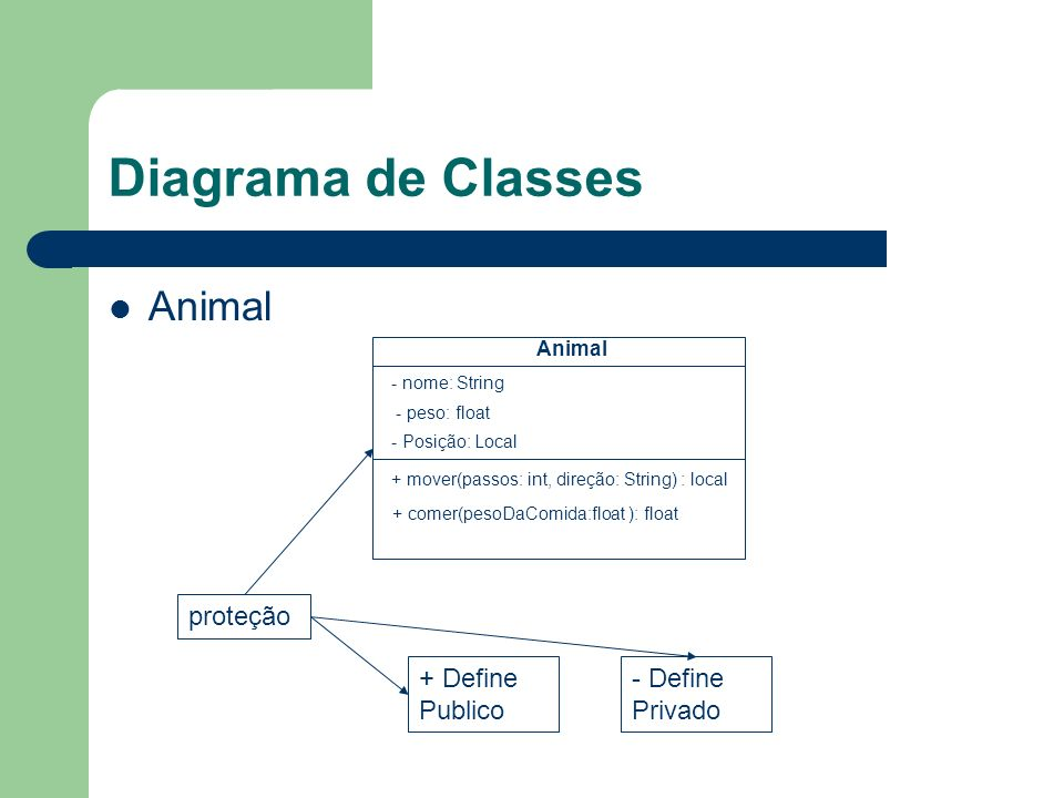 Diagrama de Classes Animal proteção + Define Publico - Define Privado