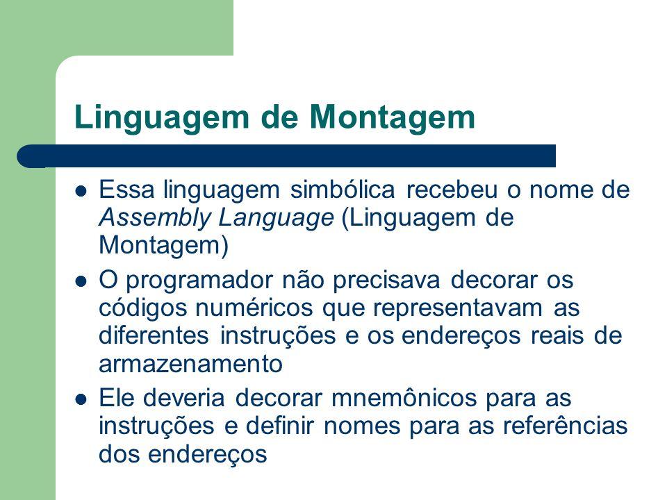 Linguagem de Montagem Essa linguagem simbólica recebeu o nome de Assembly Language (Linguagem de Montagem)