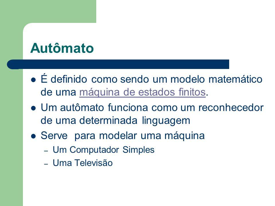 Autômato É definido como sendo um modelo matemático de uma máquina de estados finitos.