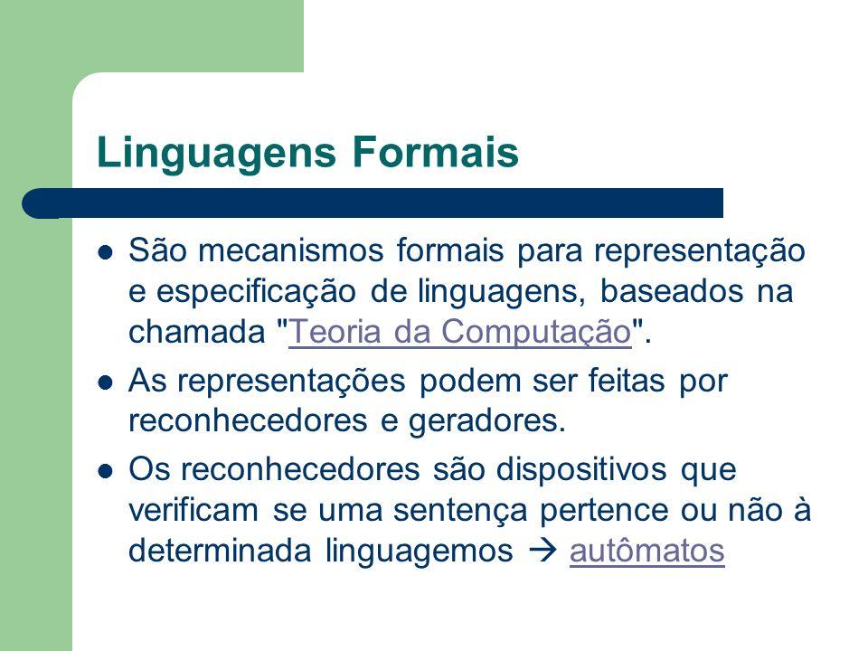 Linguagens Formais São mecanismos formais para representação e especificação de linguagens, baseados na chamada Teoria da Computação .