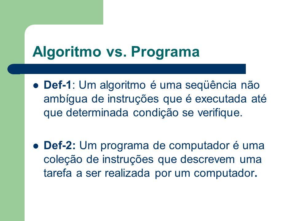 Algoritmo vs. Programa Def-1: Um algoritmo é uma seqüência não ambígua de instruções que é executada até que determinada condição se verifique.