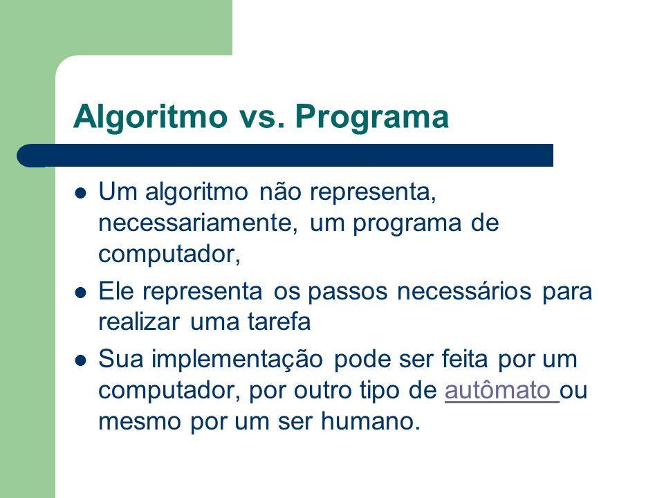 Algoritmo vs. Programa Um algoritmo não representa, necessariamente, um programa de computador,