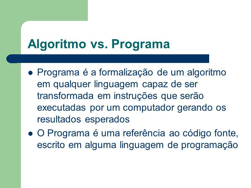 Algoritmo vs. Programa