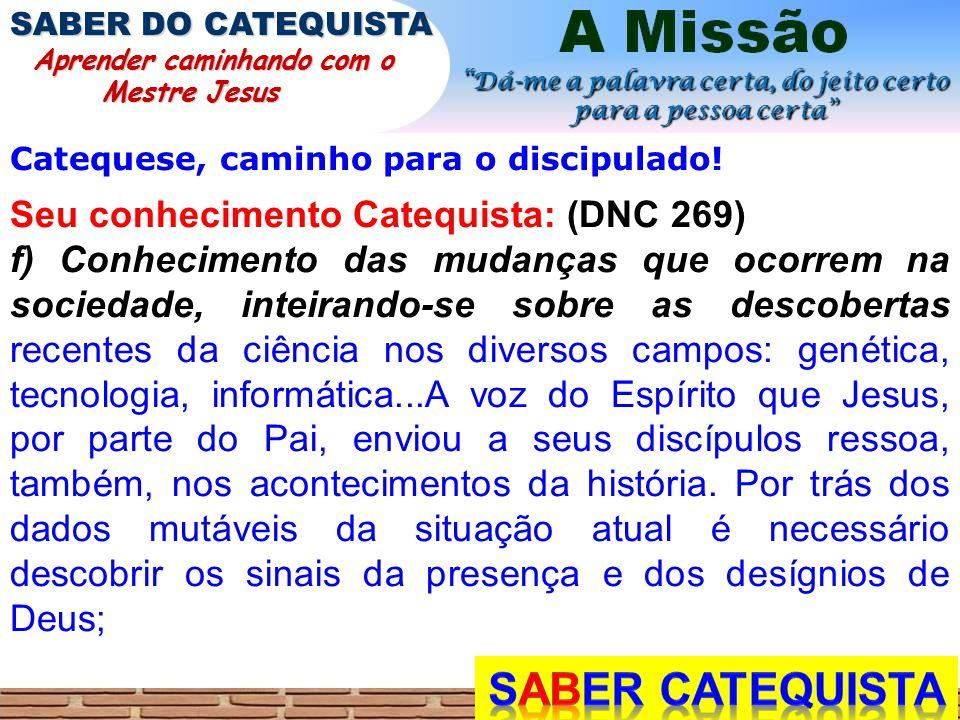 SABER CATEQUISTA Seu conhecimento Catequista: (DNC 269)