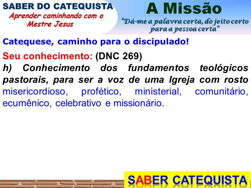 SABER CATEQUISTA Seu conhecimento: (DNC 269)
