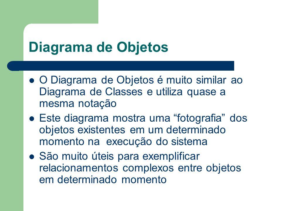 Diagrama de Objetos O Diagrama de Objetos é muito similar ao Diagrama de Classes e utiliza quase a mesma notação.