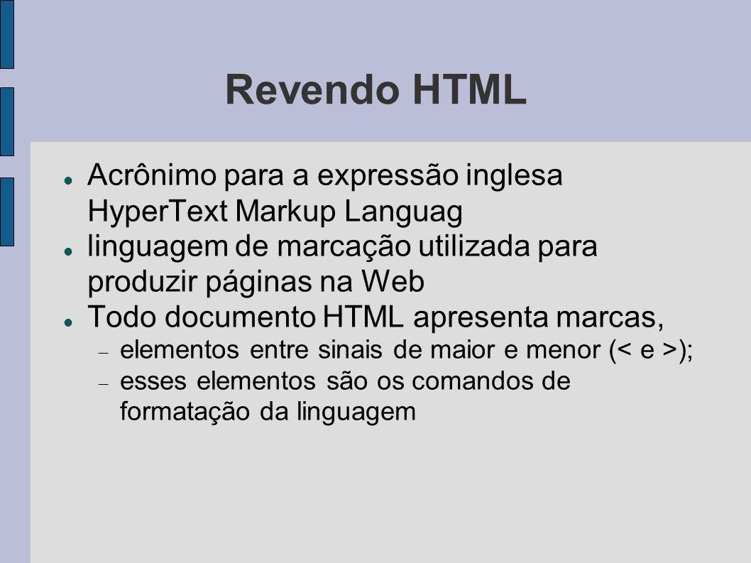 Revendo HTML Acrônimo para a expressão inglesa HyperText Markup Languag. linguagem de marcação utilizada para produzir páginas na Web.