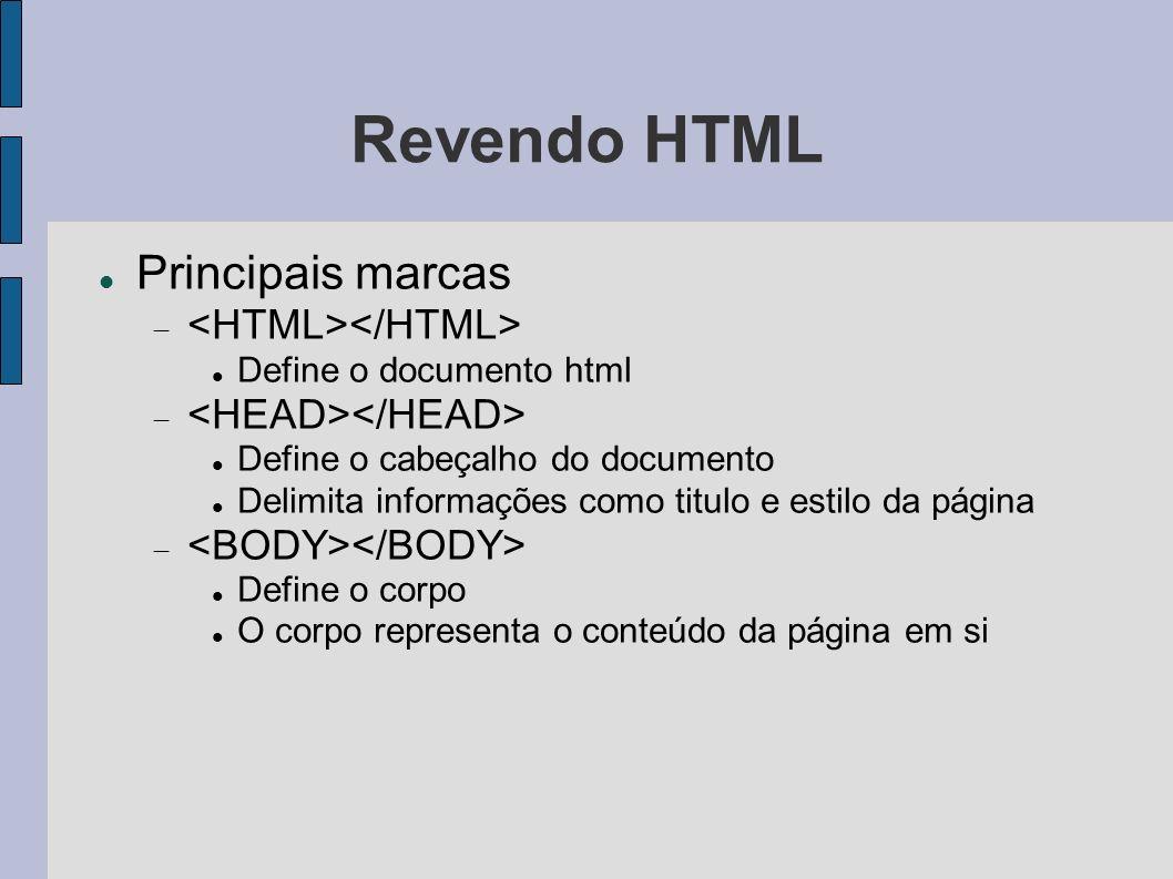 Revendo HTML Principais marcas <HTML></HTML>