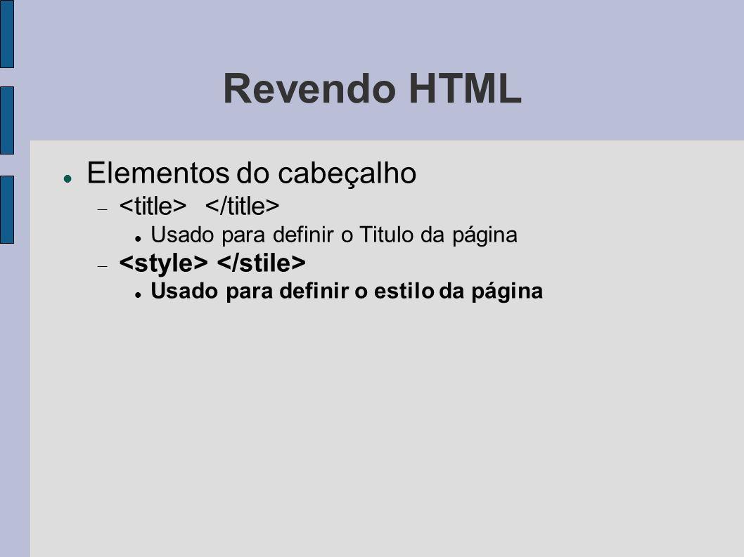 Revendo HTML Elementos do cabeçalho <title> </title>