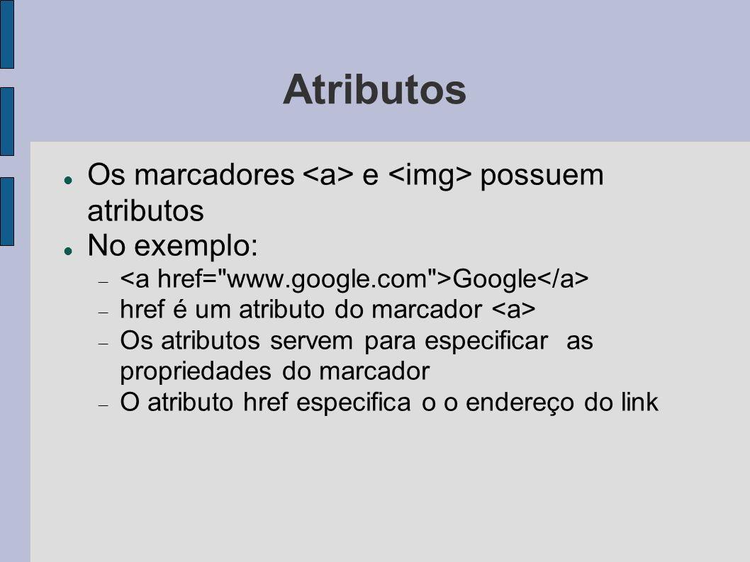 Atributos Os marcadores <a> e <img> possuem atributos