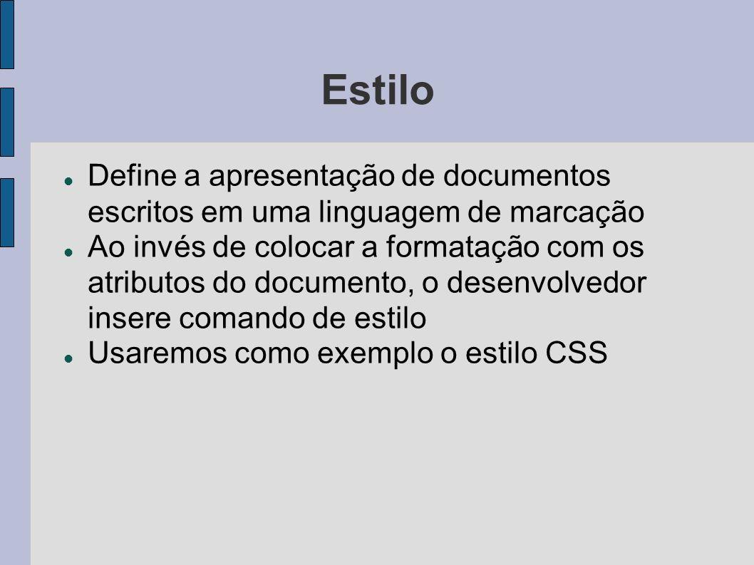 Estilo Define a apresentação de documentos escritos em uma linguagem de marcação.