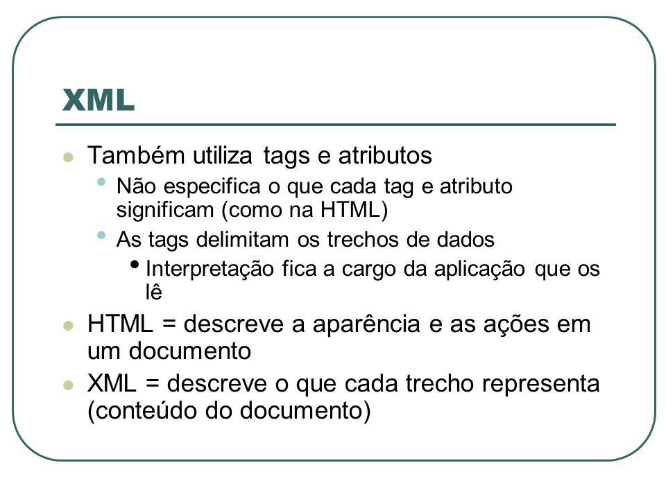 XML Também utiliza tags e atributos