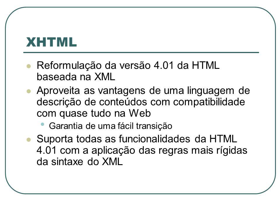 XHTML Reformulação da versão 4.01 da HTML baseada na XML