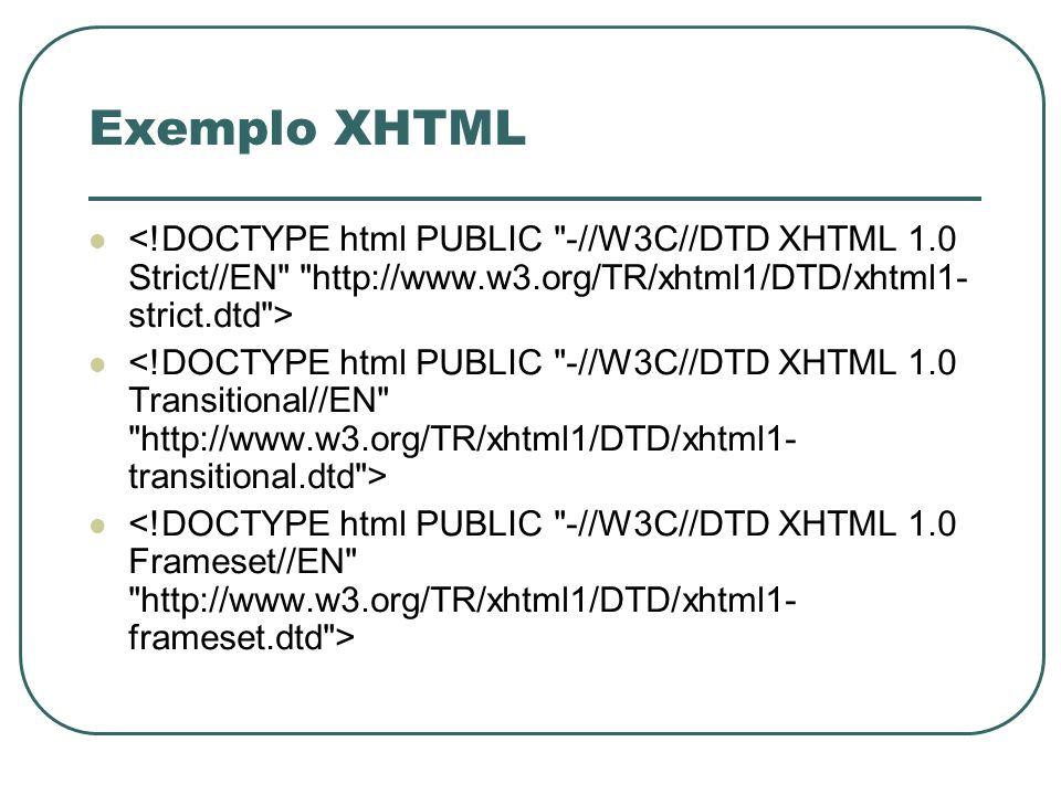 Exemplo XHTML<!DOCTYPE html PUBLIC -//W3C//DTD XHTML 1.0 Strict//EN http://www.w3.org/TR/xhtml1/DTD/xhtml1-strict.dtd >