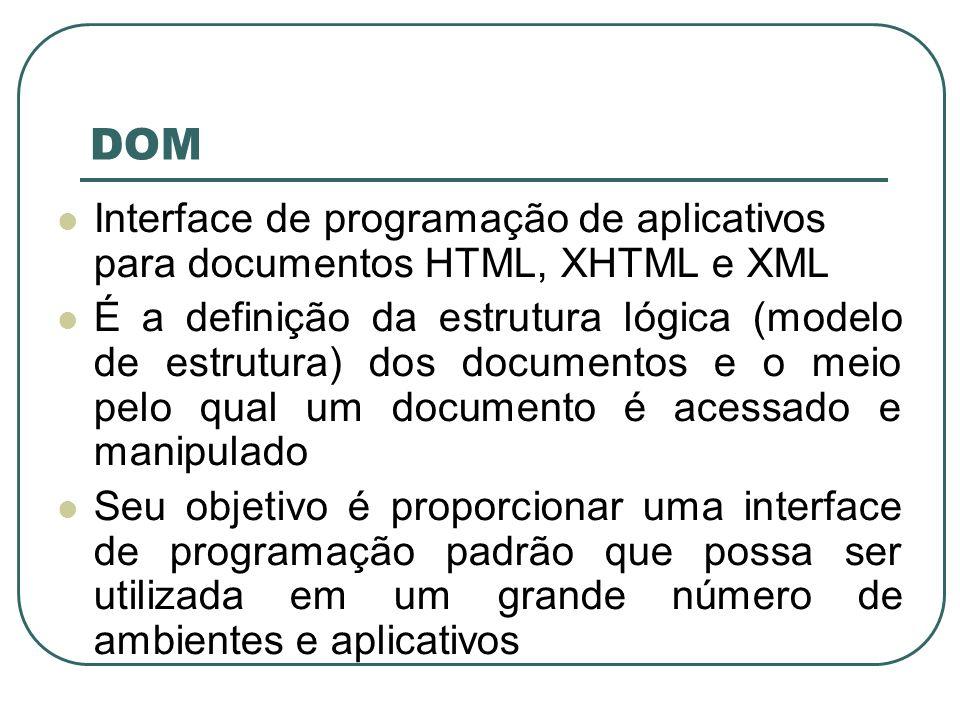 DOM Interface de programação de aplicativos para documentos HTML, XHTML e XML.