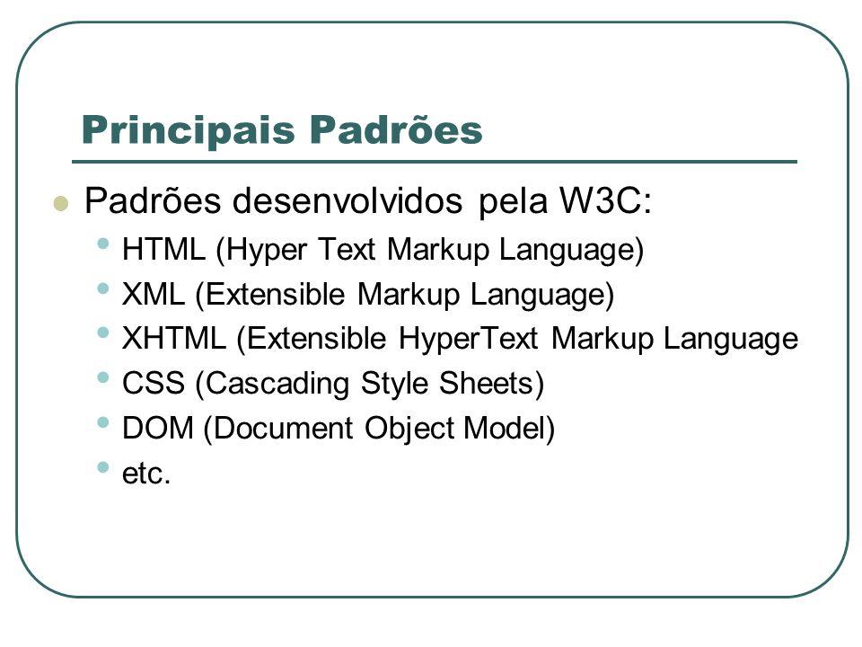 Principais Padrões Padrões desenvolvidos pela W3C: