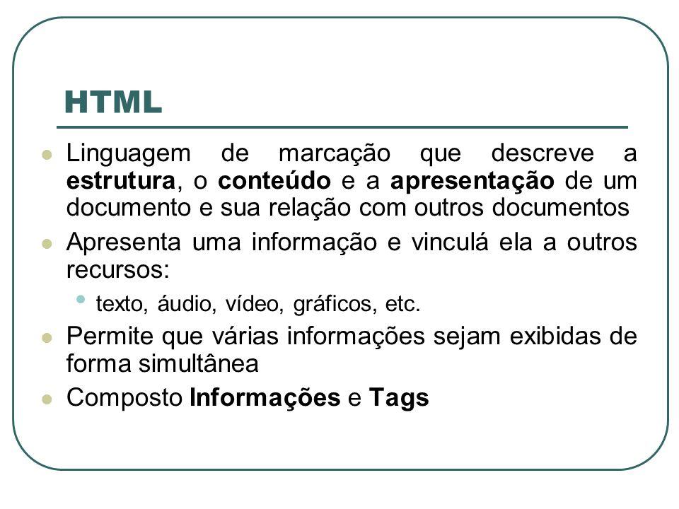 HTML Linguagem de marcação que descreve a estrutura, o conteúdo e a apresentação de um documento e sua relação com outros documentos.