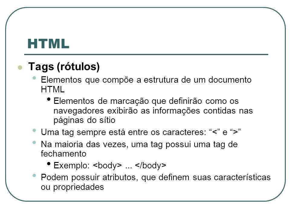 HTMLTags (rótulos) Elementos que compõe a estrutura de um documento HTML.