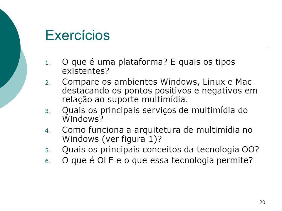 Exercícios O que é uma plataforma E quais os tipos existentes