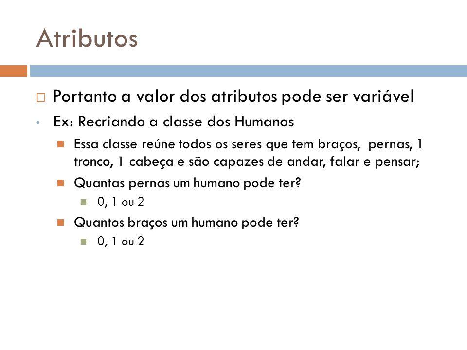 Atributos Portanto a valor dos atributos pode ser variável